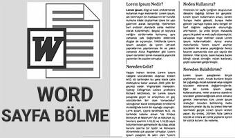 Microsoft Word Sayfaları Sütunlara Ayırma – İkiye bölme